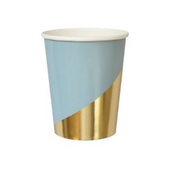 Baby Blue and Gold Colorblock Cups