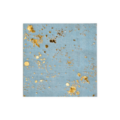 Baby Blue and Gold Foiled Cocktail Napkins