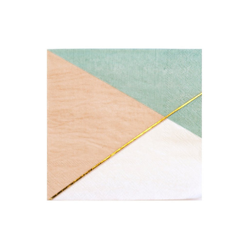 Peach and Blue Colorblock Cocktail Napkins