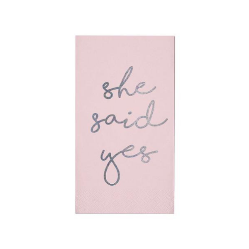 She said yes guest napkin