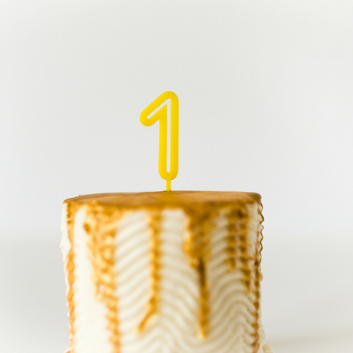 Number Cake Topper - Yellow