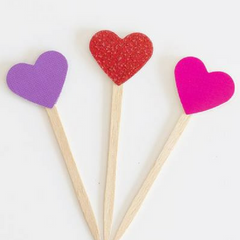 Purple Hearts Cupcake Toppers