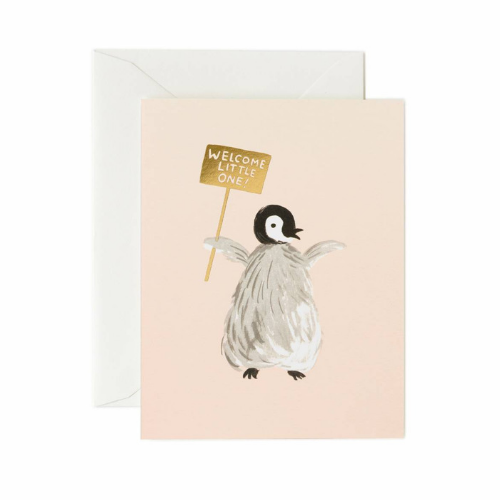 """Welcome Little One"" Penguin Card"
