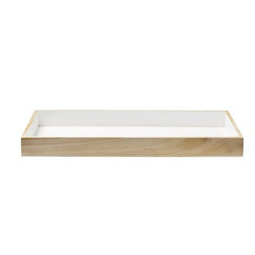 Wood & White Serving Tray
