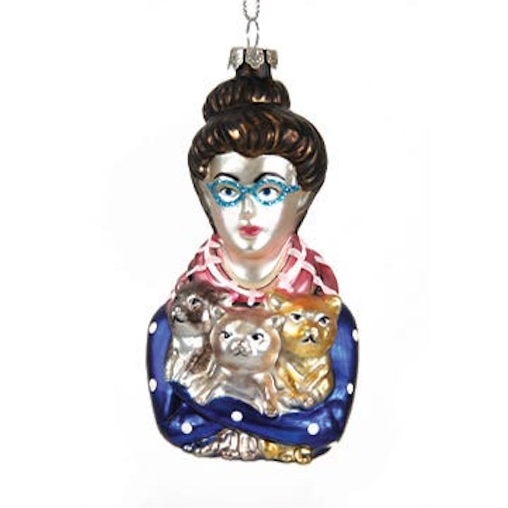 Jollity & Co, Cat Lady Ornament, Holiday Ornament, Cat Enthusiast, Crazy Cat Lady Ornament