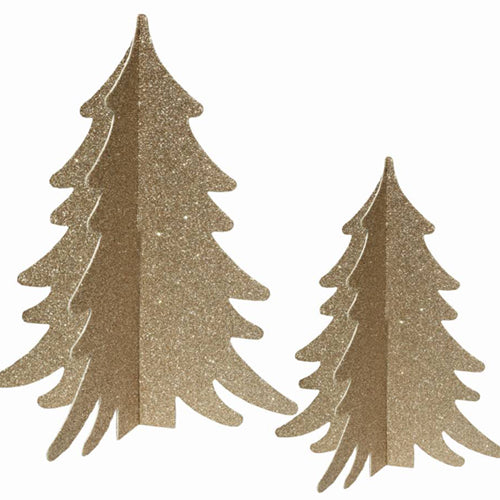 Tabletop Gold Glitter Trees
