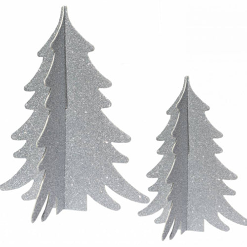 Tabletop Silver Glitter Trees