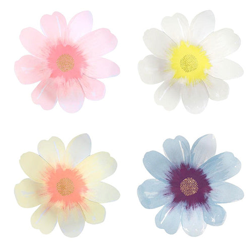 Embossed Flower Plates , brush stroke watercolors, 1 pink, one white, one cream, one blue