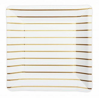 Gold Striped Square Plates