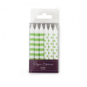Green & White - Birthday Candles