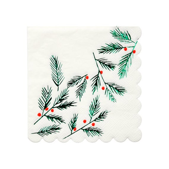 Tree Fronds & Berries Napkin - Serviettes