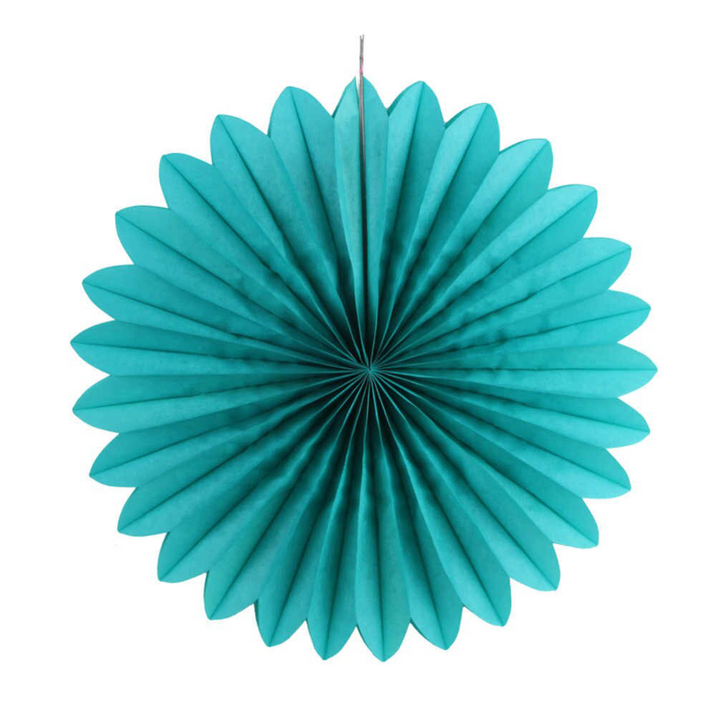 Teal Paper Fans, 5 Sizes