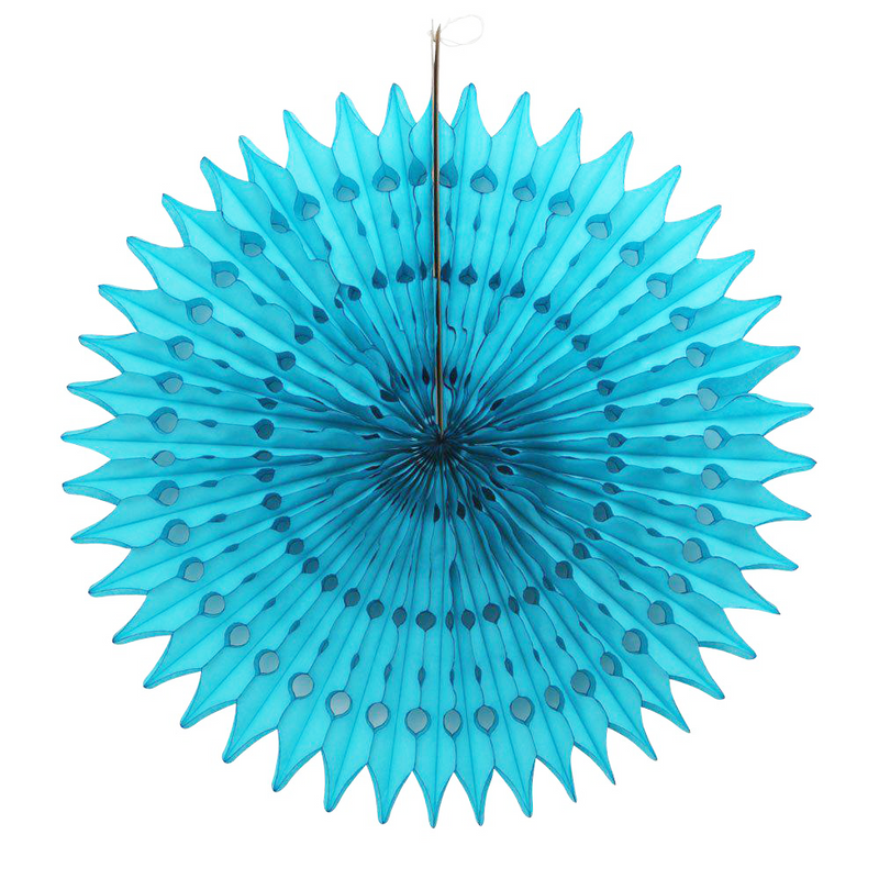 Turquoise Paper Fans, 5 Sizes