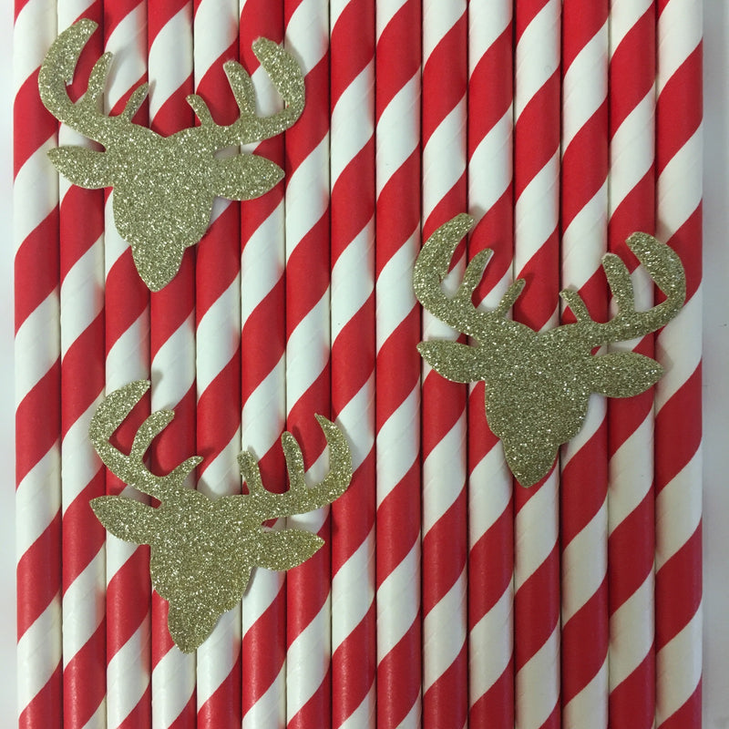Reindeer Paper Straws - Set of 25