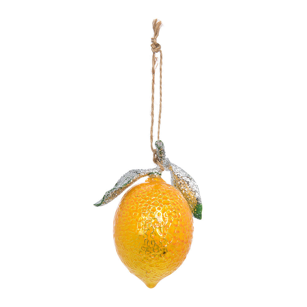 Jollity & Co, Lemon Ornament, Holiday Ornament, Lemon holiday ornament, fruit ornament