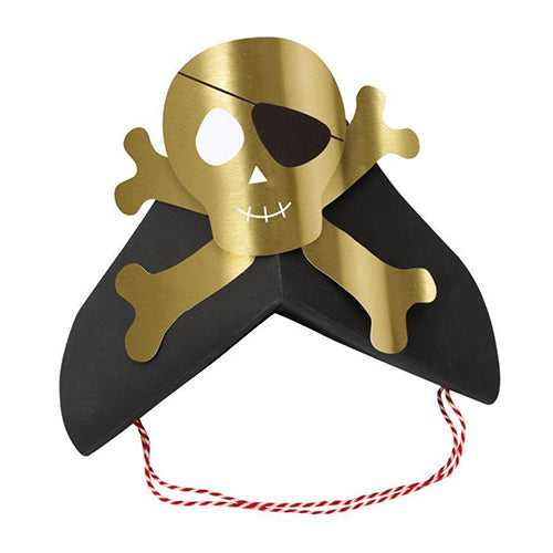 Gold Skull and Cross Bone Pirate Party Hat