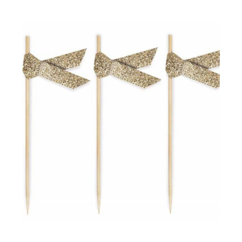 Gold Glitter Ribbon Food Toppers