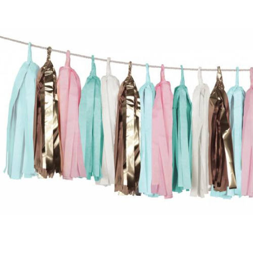 Mint, Pink, & Gold Tassel Garland