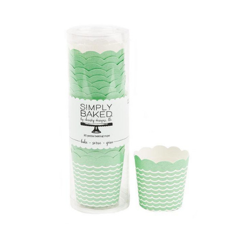 Mint Waves Baking Cups