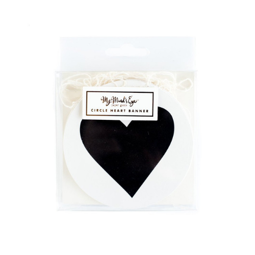 Black & White Circle Heart Banner