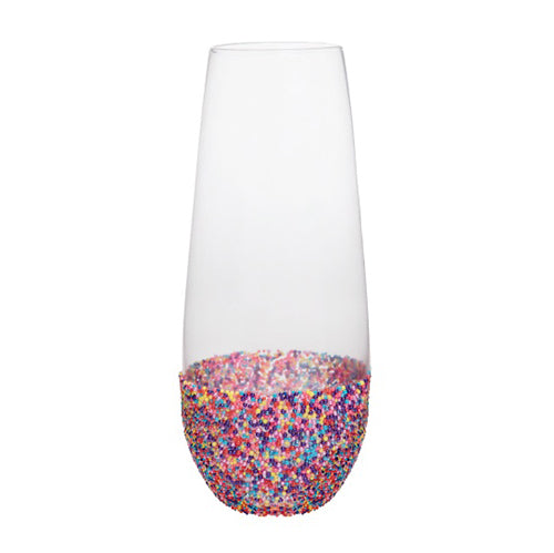 Beaded Stemless Wine Glass