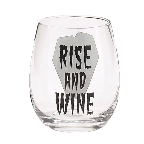 """Rise and Wine"" Stemless Wine Glass"