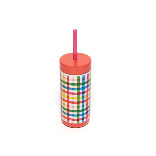 Rainbow Plaid Stainless Steel Tumbler