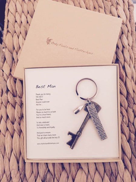 Bottle opener & keyring - a useful and sentimental Best Man gift