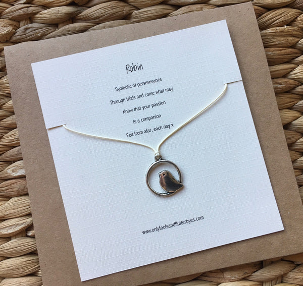 Robin charm and tie cord necklace and poem, by Only Fools and Flutterbyes UK