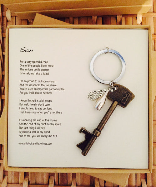 Son - sentimental gift for a son, bottle opener and unique message