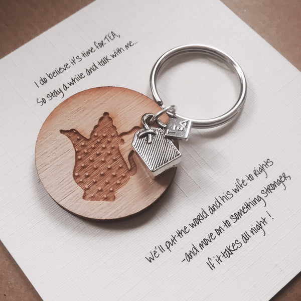 Teabag / Teapot keyring charm - Humorous and funny friendship gift