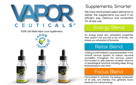 Zero Nicotine, Not Made From Tobacco Vapor Supplements Energy Relax Focus