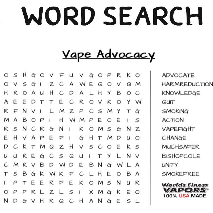 Vaping Word Search Game