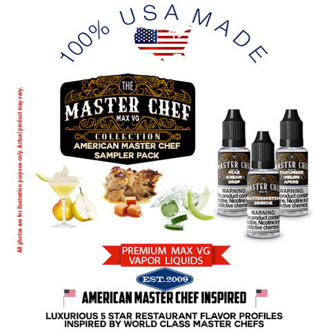 American Master Chef Inspired Max VG Only USA Made Vape Juice Sampler