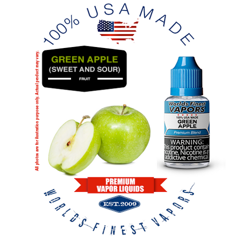 Green Apple - wfvapors natural fresh Green Apple flavor vape ejuice vapor liquid juice eliquid delicious sweet sour refreshing
