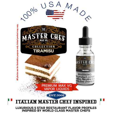 Tiramisu Premium Max VG Vapor Liquid - 100% USA Made only natural espresso coffee chocolate cream vape ejuice juice eliquid VG