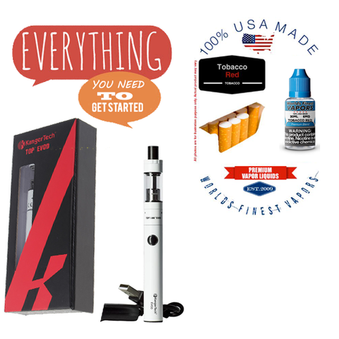 Vapor Cigarette Starter Combo Kit with Tobacco Red Vape Juice and Device