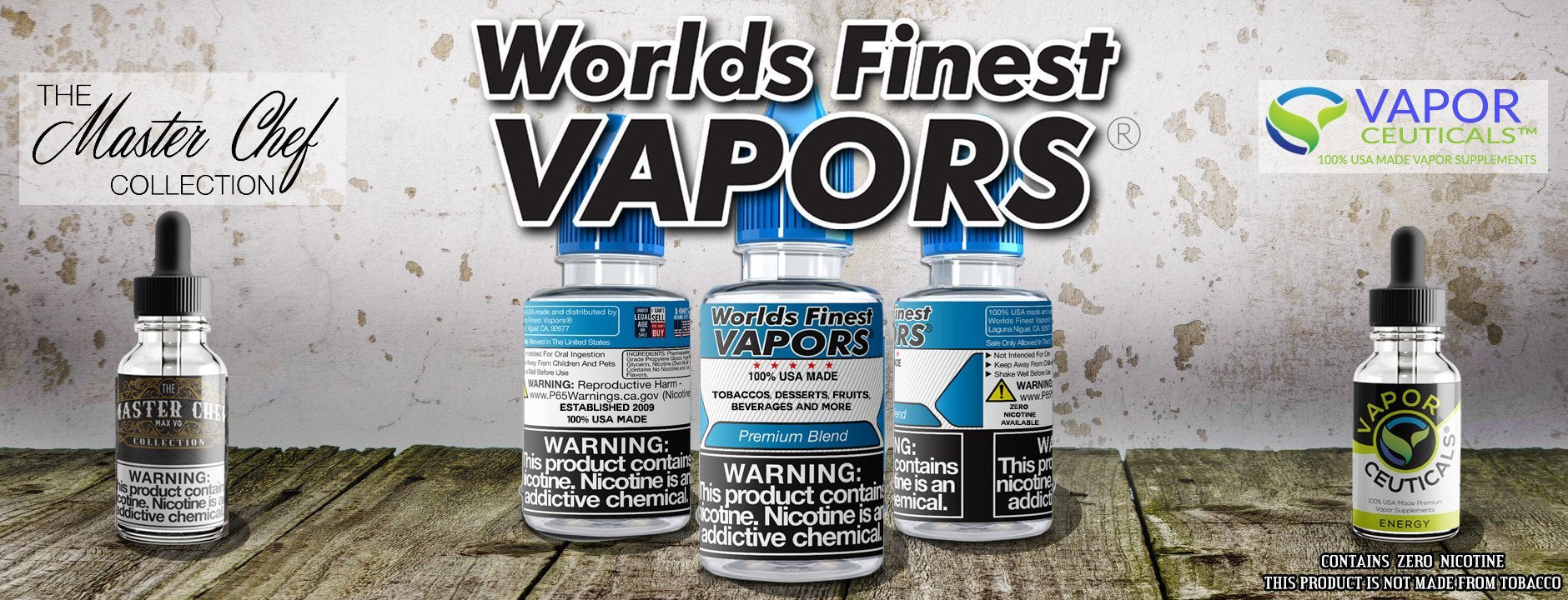 Worlds Finest Vapors | 100% USA Made Vape Juice Natural E-liquid Vapor Liquid
