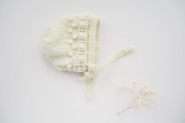 'Manon' Bonnet - Milk - Newborn to 3-12m