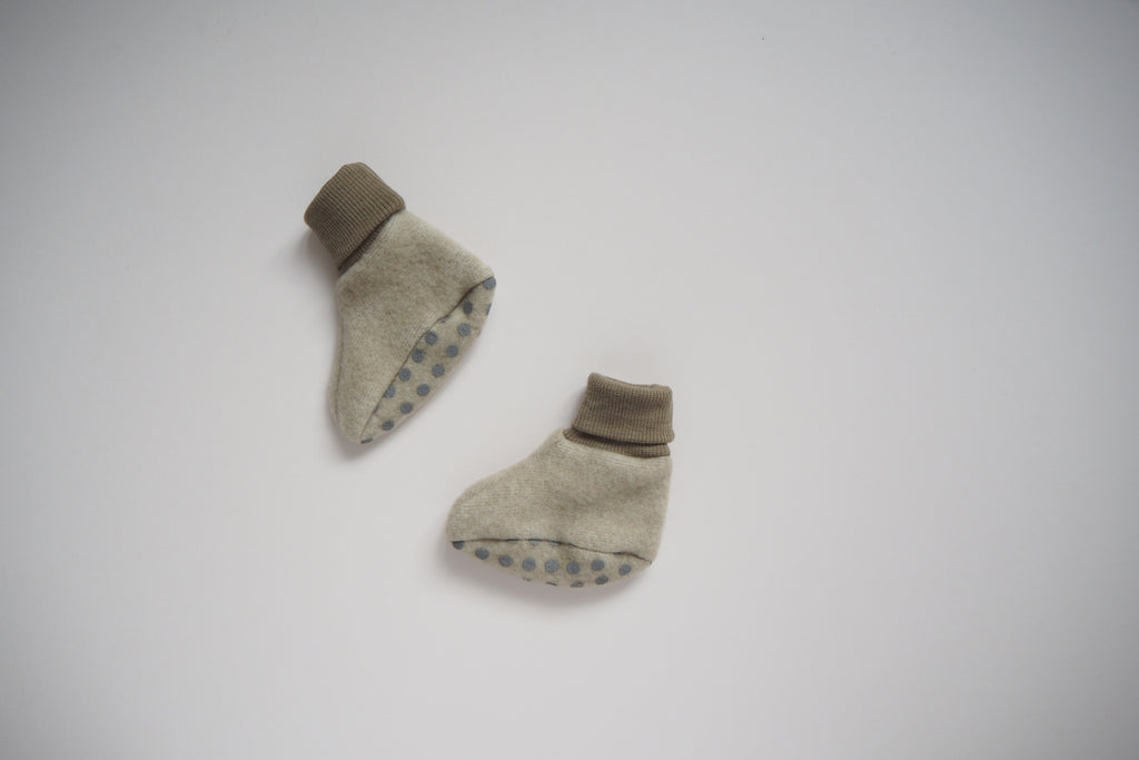Baby Booties - Wool & Organic Cotton Fleece - Latte - 0/3m to 3/6m - By Cosilana