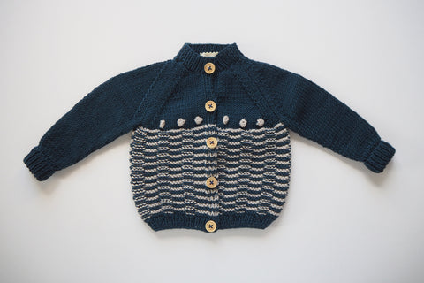 Cardigan 'Anni' - Midnight & Frost - One Left! 0/3 months - 20% off