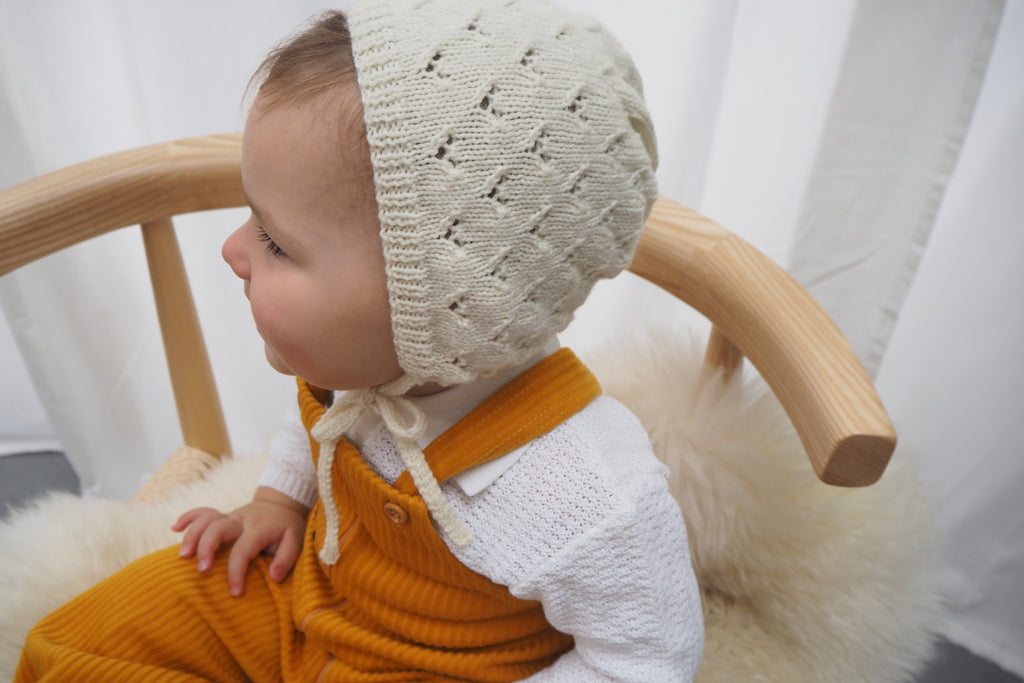 'Colette' Bonnet - Milk - 0-3m to 1-3y