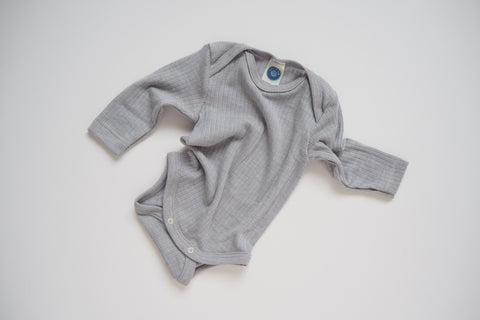 Body in organic cotton, silk and wool - Silver - 0/3m to 9/12m - By Cosilana