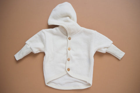 Baby Jacket -  Wool & Organic Cotton Fleece - Natural - 0/3m to 3/9m - By Cosilana