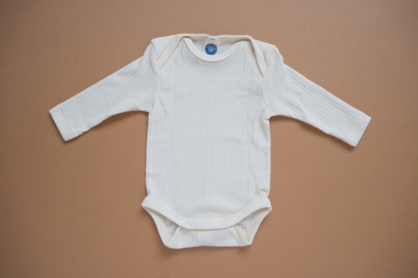 Body in organic cotton, silk and wool - Natural - 0/3m & 3/9m - By Cosilana