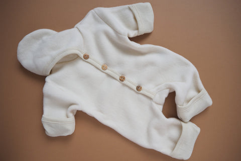 Baby Overall with fold-over feet and mittens -  Wool & Organic Cotton Fleece - Natural -0/3m to 3/6m - By Cosilana
