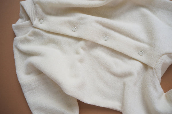 Merino Wool Terry Pyjamas - Natural - 0/1m & 0/3m - By Cosilana