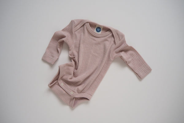 Body in organic cotton, silk and wool - Rose - 0/3m to 9/12m - By Cosilana