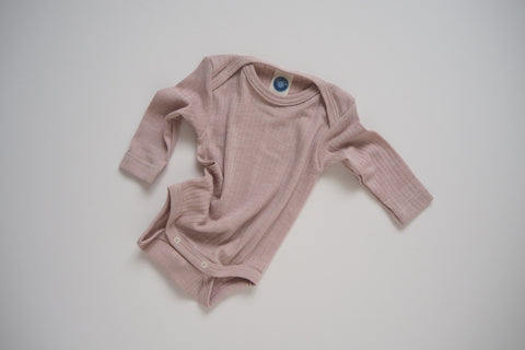 Body in organic cotton, silk and wool - Rose - 0/3m & 3/9m - By Cosilana