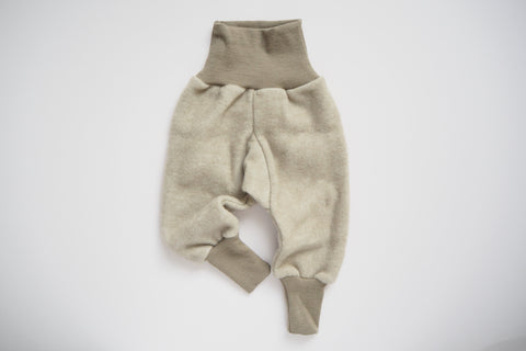 Baby Pants - Wool & Organic Cotton Fleece - Latte - 0/3m to 3/6m - By Cosilana